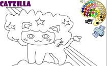 Играть онлайн Раскраска Котзиллы бесплатно