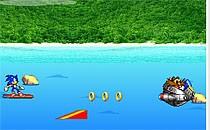 Играть онлайн Соник догоняет злодея на сёрфе бесплатно