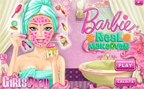 Играть онлайн Уход за лицом и макияж Барби бесплатно