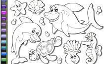 Играть онлайн Раскраска морские животные бесплатно