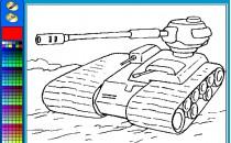 Играть онлайн Раскраска танки бесплатно