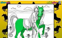 Играть онлайн Рисовалка Барби и лошадь бесплатно